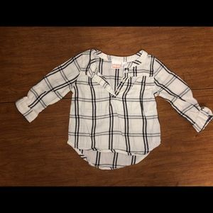 EUC Jumping Beans Sz 12M White & Black Plaid Top